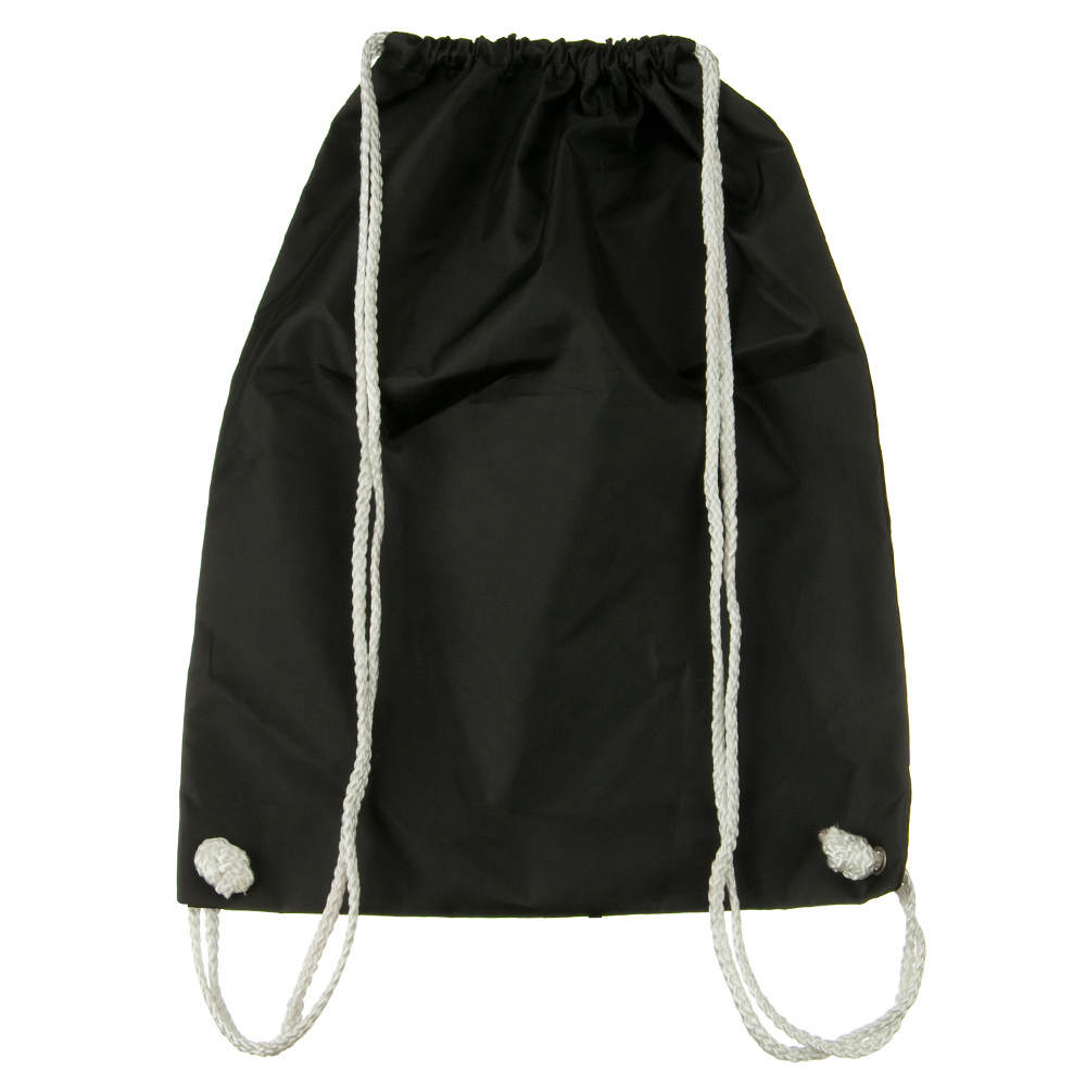 Nylon Drawstring Solid Color Backpack - Black