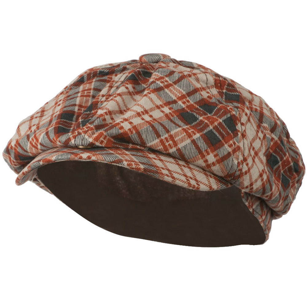 Men's Plaid Snap Brim Newsboy Hat - Rust - Hats and Caps Online Shop - Hip Head Gear