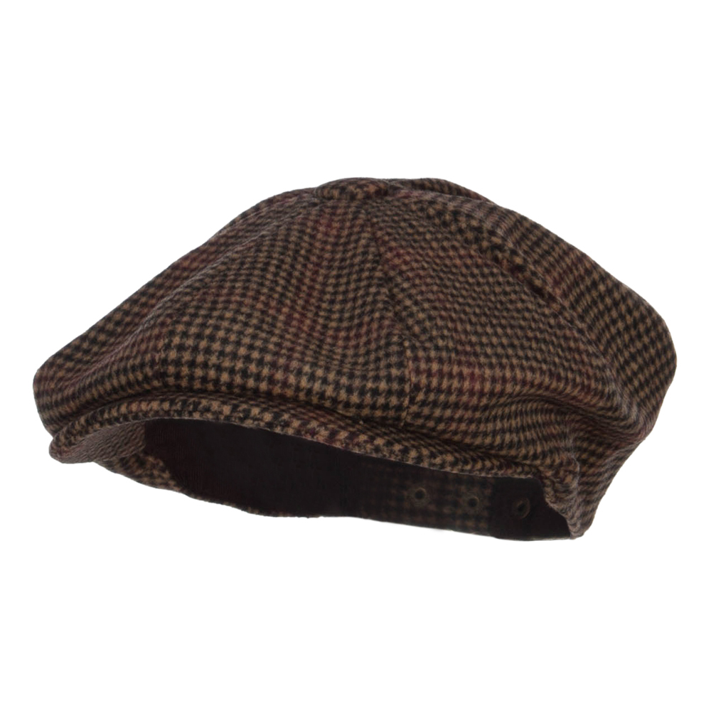 Men's Wool Blend 8 Panel Newsboy Hat - Brown