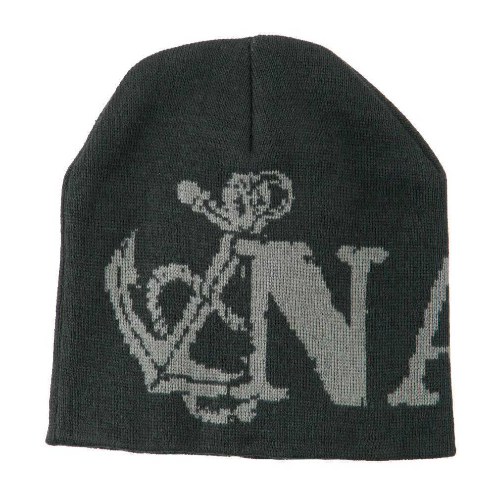 Navy Military Woven Knit Beanie - Charcoal - Hats and Caps Online Shop - Hip Head Gear