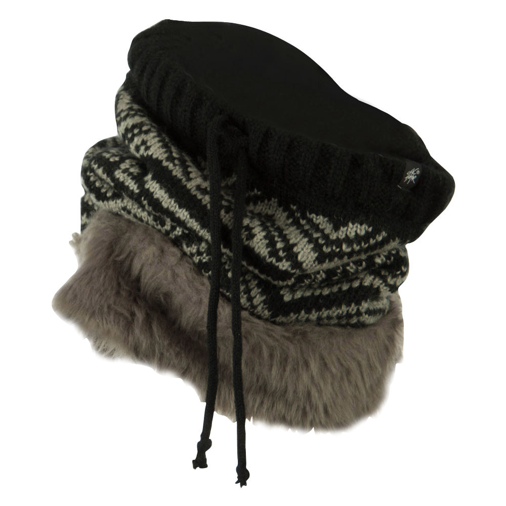 Nordic Neck Warmer with Faux Fur - Black Grey