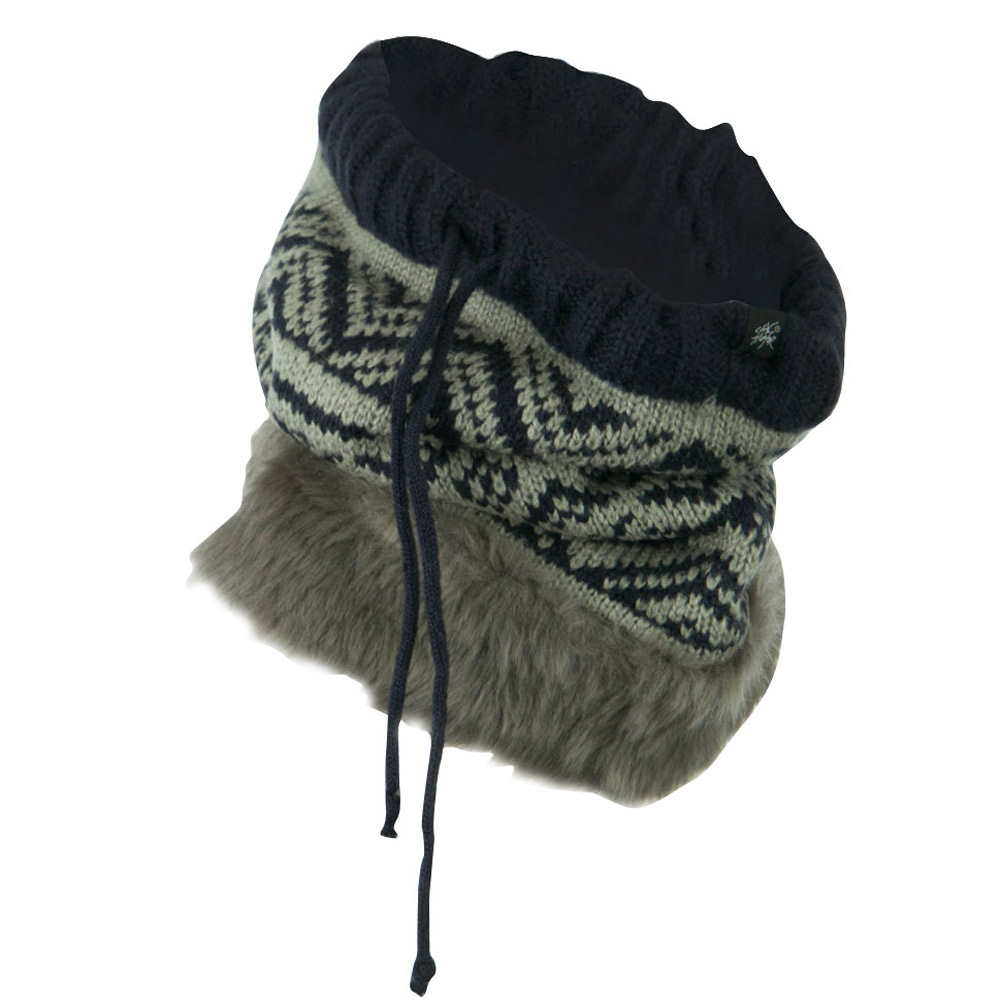 Nordic Neck Warmer with Faux Fur - Navy Grey