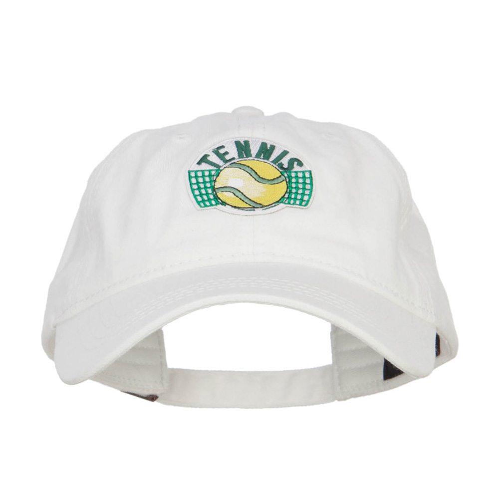 Tennis Ball Patched Washed Cap - White