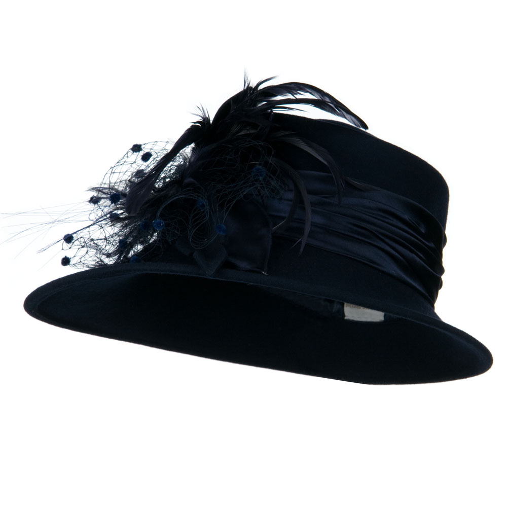 Wool Felt Hat with Net Ribbon - Navy - Hats and Caps Online Shop - Hip Head Gear
