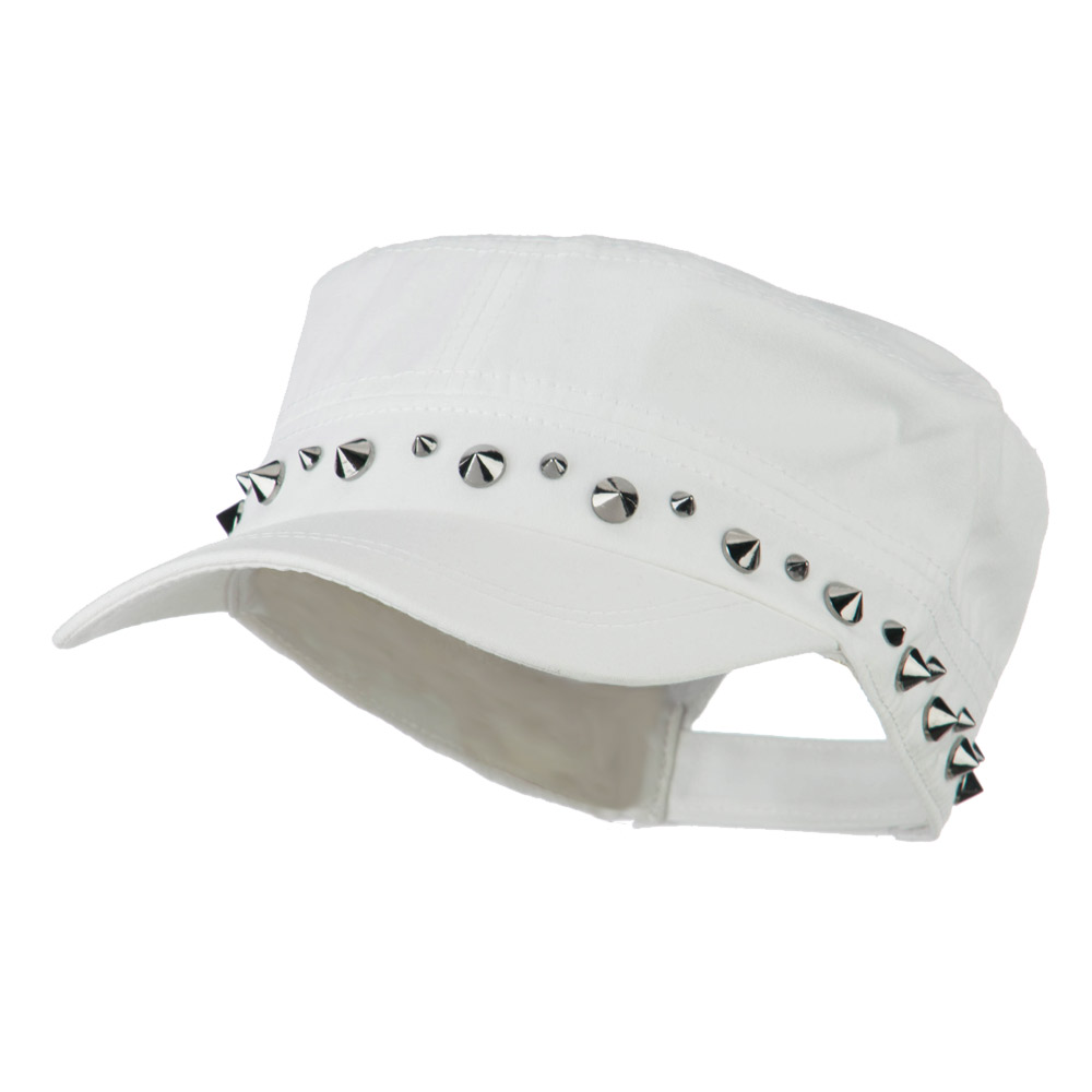 Nickel Spike Jeep Style Adjustable Army Cap - White - Hats and Caps Online Shop - Hip Head Gear