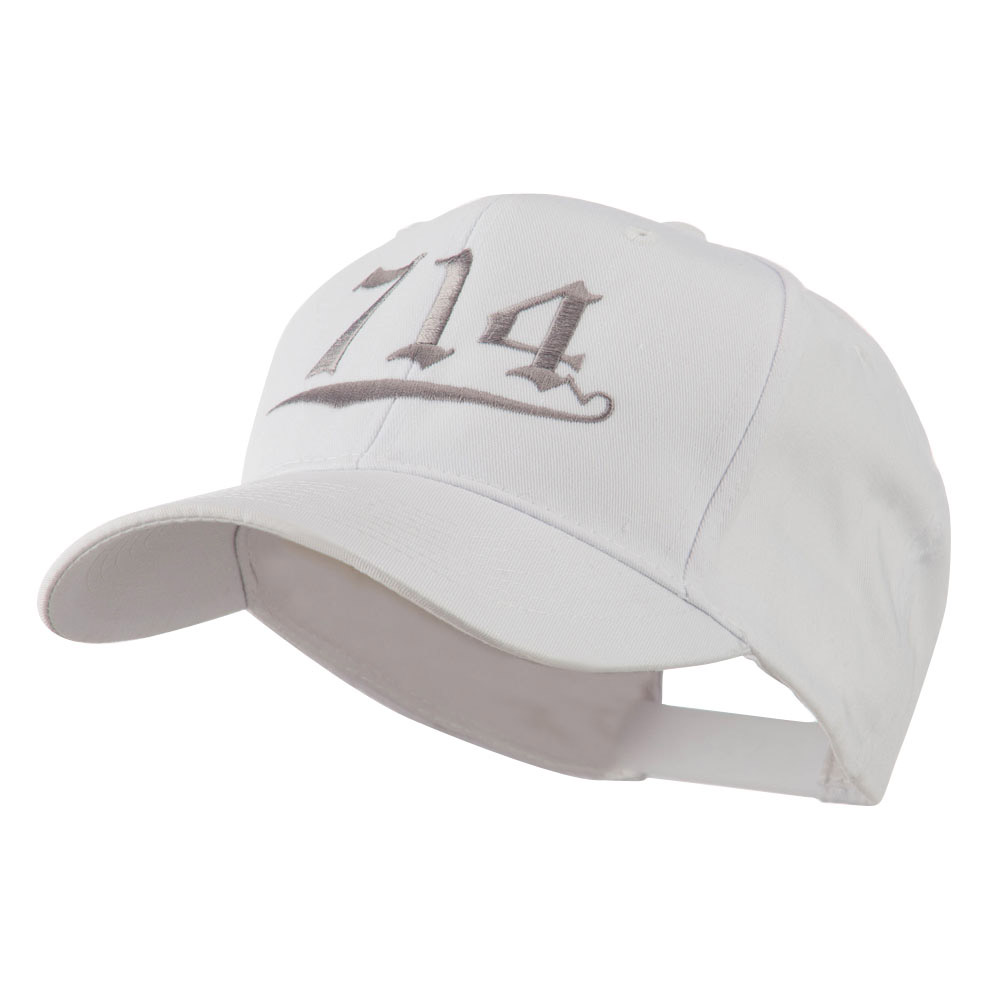 714 Orange County Area Code Embroidered Cap - White - Hats and Caps Online Shop - Hip Head Gear