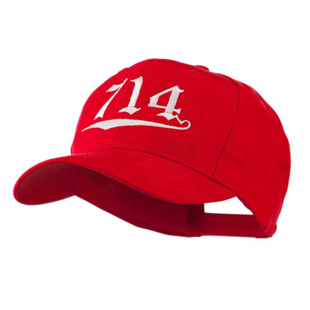 714 Orange County Area Code Embroidered Cap - Red - Hats and Caps Online Shop - Hip Head Gear