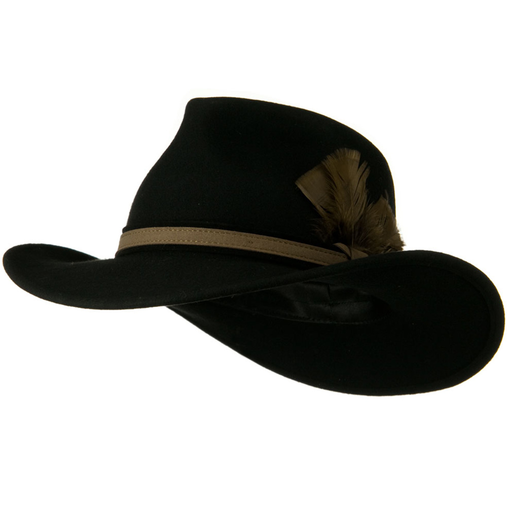 Outback Wool Felt Fedora Hat with Feather - Black - Hats and Caps Online Shop - Hip Head Gear