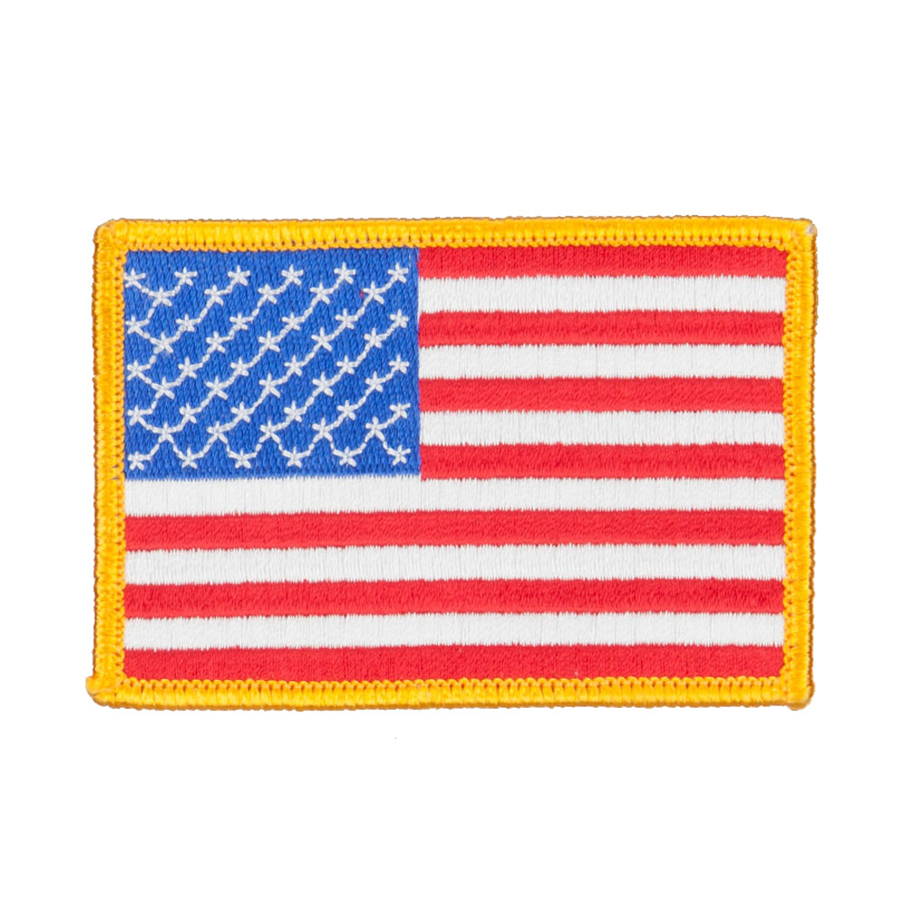 Flag Outlined Embroidered Patches - US Gold