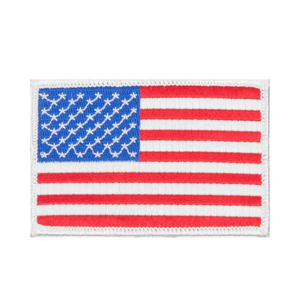 Flag Outlined Embroidered Patches - US White