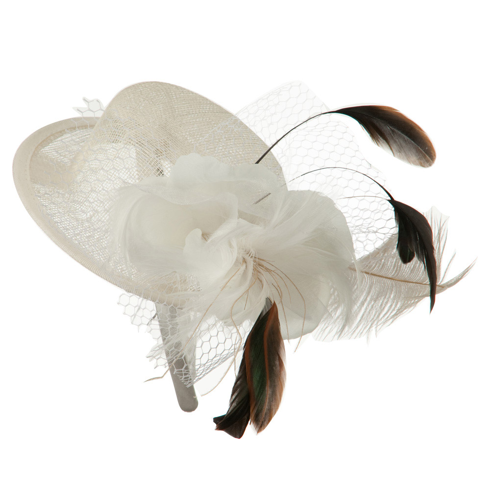 Mini Top Hat with Organza Flower Fascinator - Ivory - Hats and Caps Online Shop - Hip Head Gear