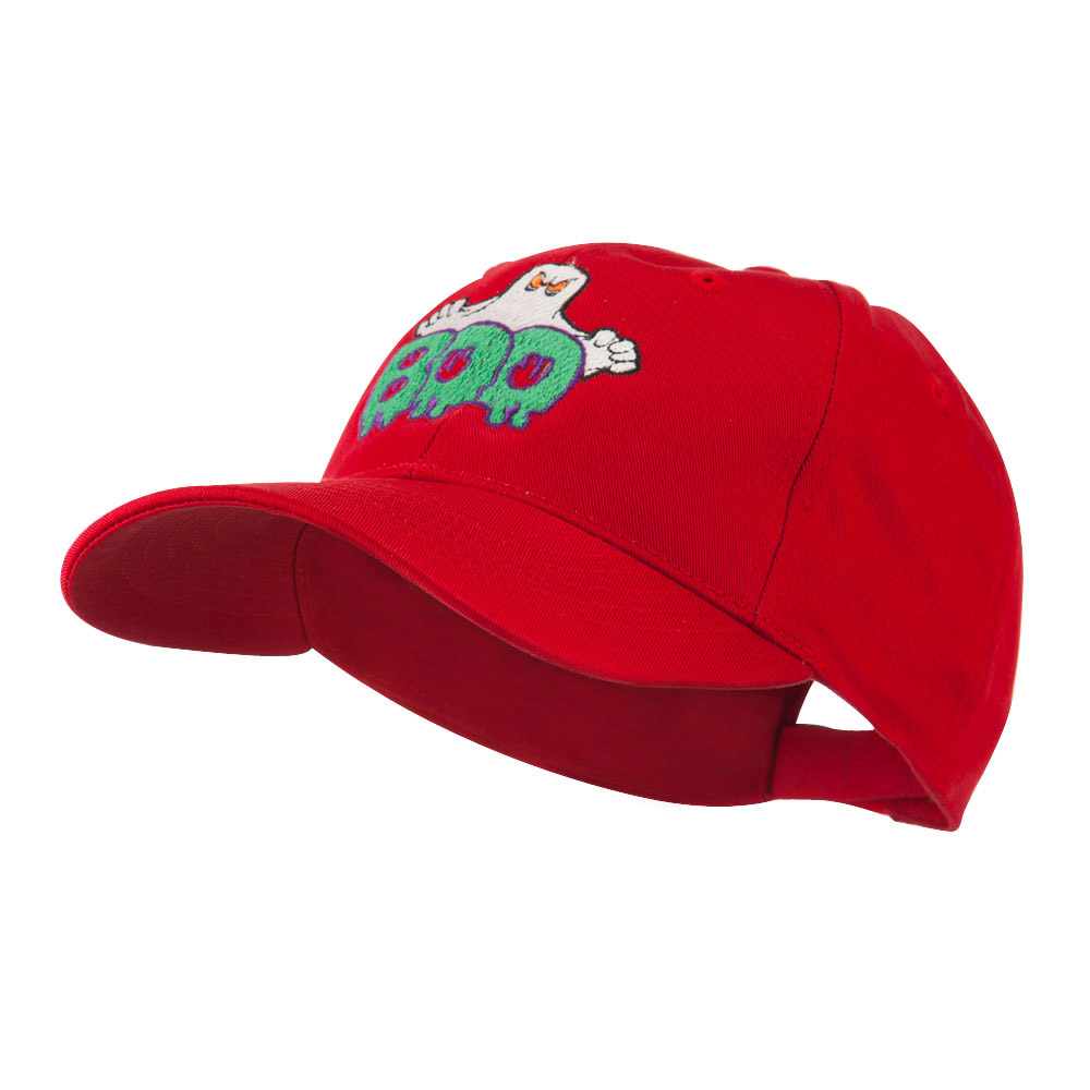 Halloween Ghost Boo Embroidered Cap - Red - Hats and Caps Online Shop - Hip Head Gear