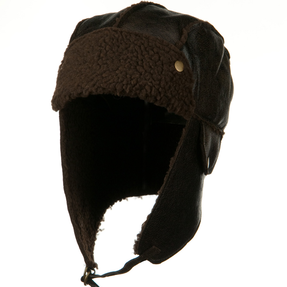 PU Aviator Trapper Hat - Dark Brown - Hats and Caps Online Shop - Hip Head Gear
