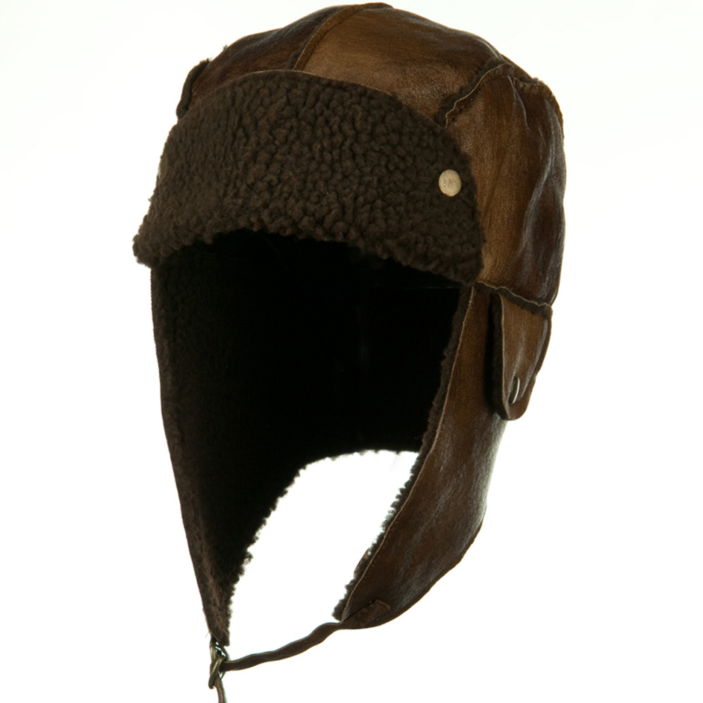 PU Aviator Trapper Hat - Light Brown - Hats and Caps Online Shop - Hip Head Gear