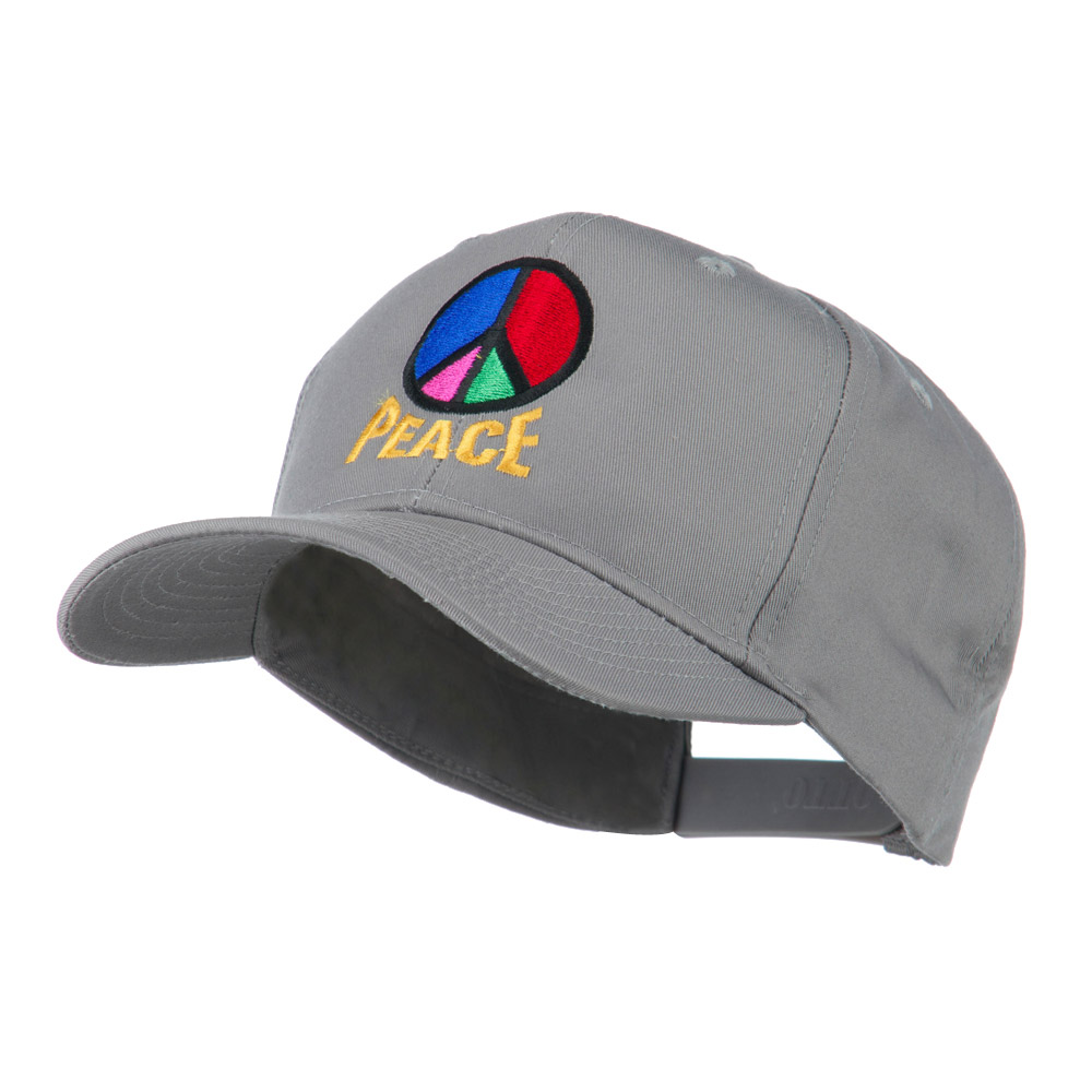 Peace Symbol Embroidered Cap - Grey - Hats and Caps Online Shop - Hip Head Gear