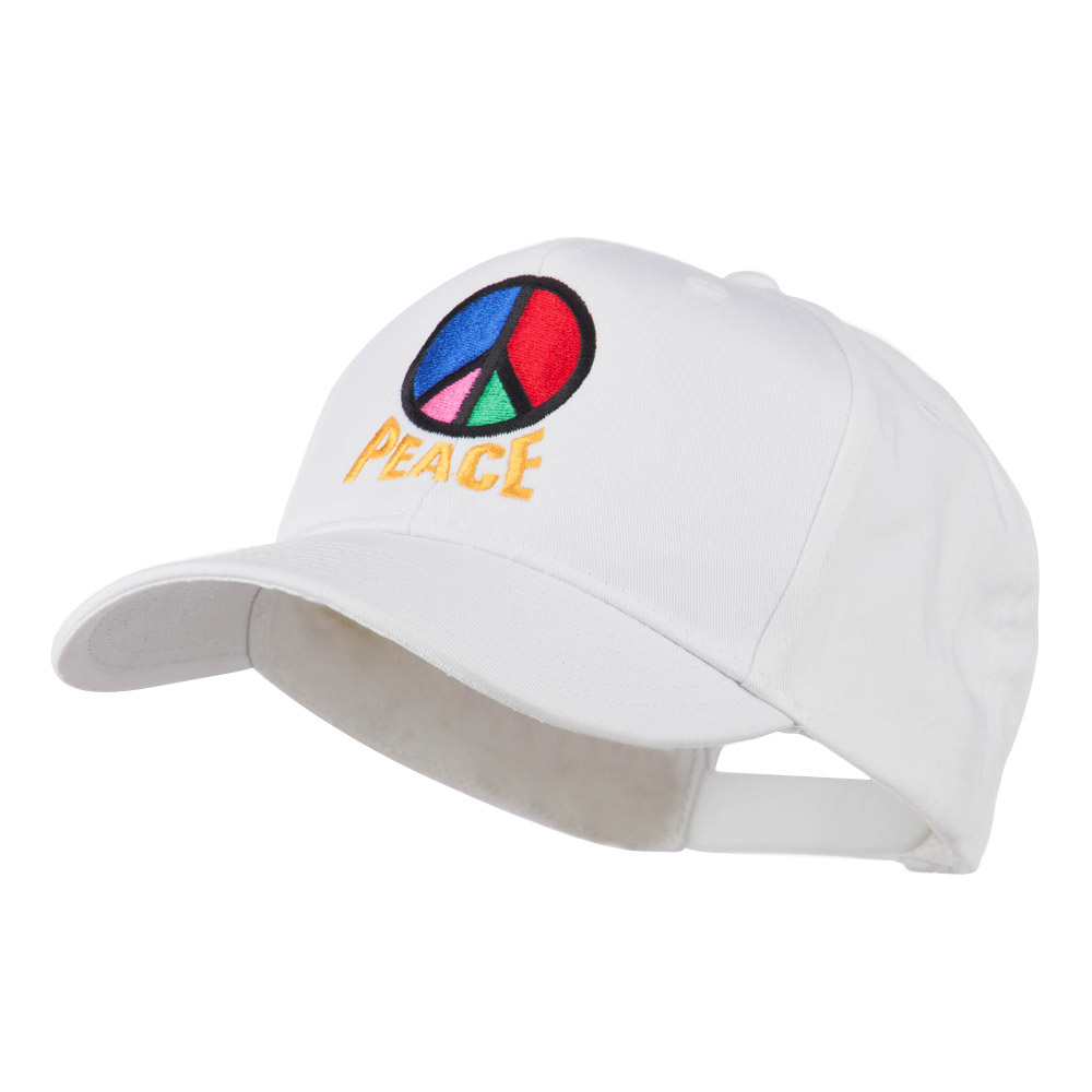 Peace Symbol Embroidered Cap - White - Hats and Caps Online Shop - Hip Head Gear