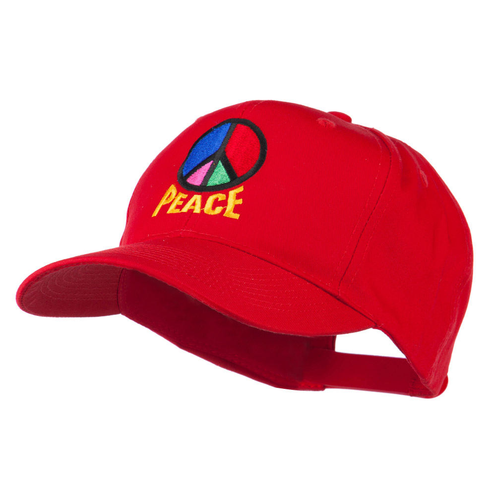 Peace Symbol Embroidered Cap - Red - Hats and Caps Online Shop - Hip Head Gear