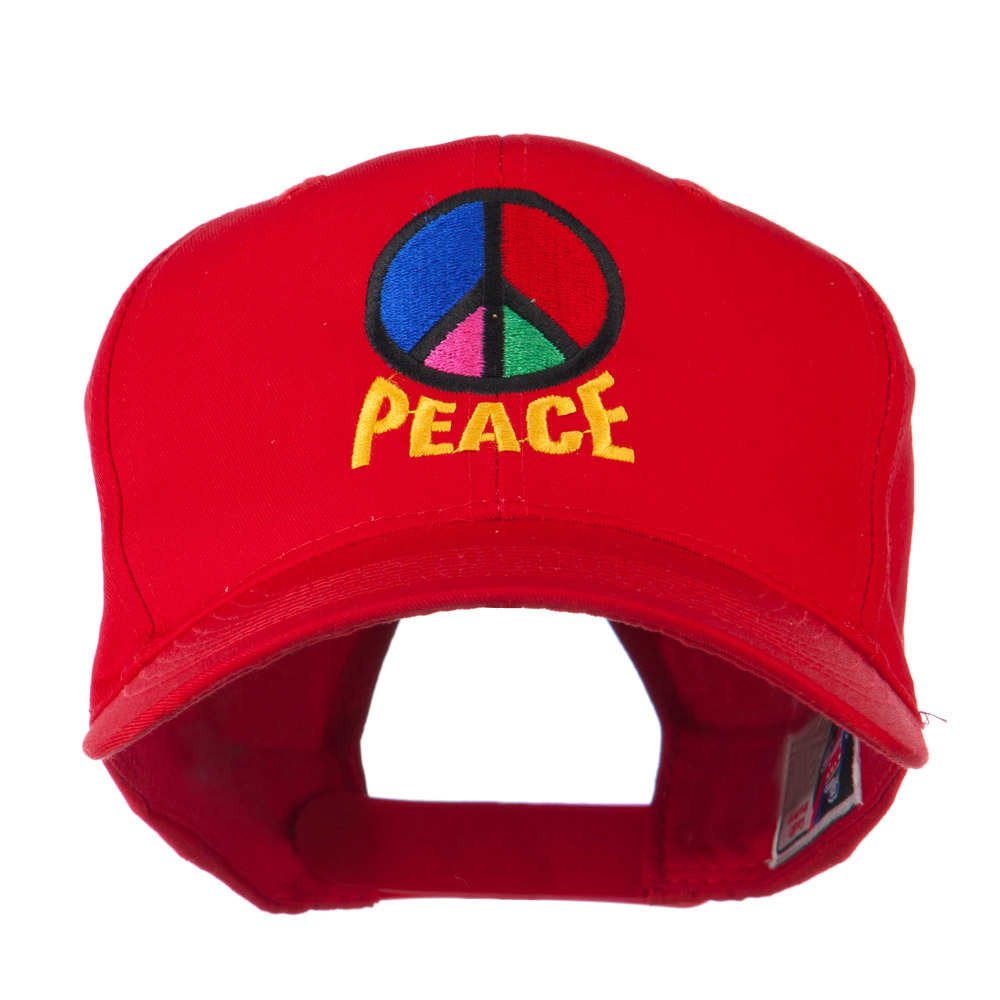 Peace Symbol Embroidered Cap - Red