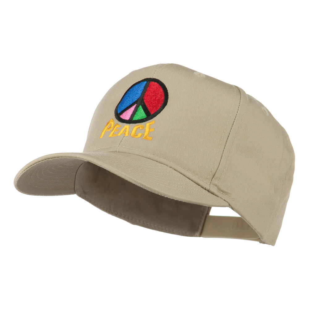 Peace Symbol Embroidered Cap - Khaki - Hats and Caps Online Shop - Hip Head Gear