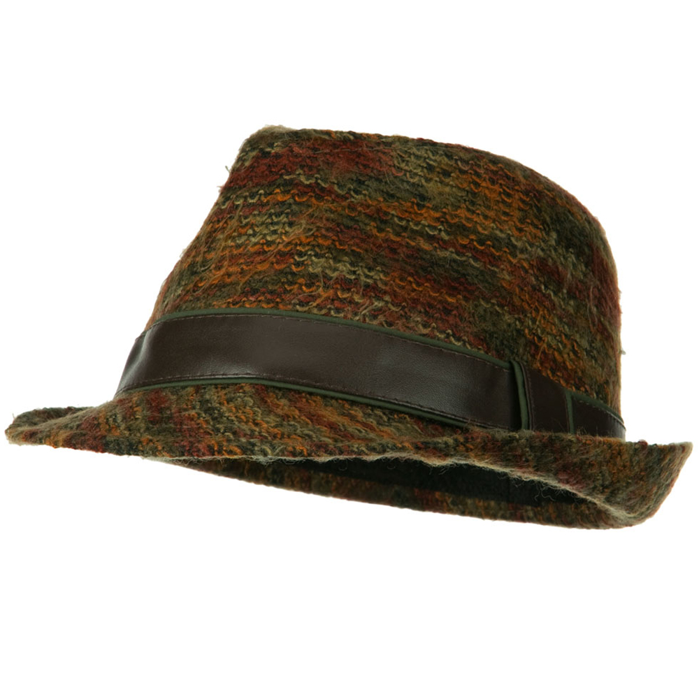 PU Band Multi Color Fedora - Rust - Hats and Caps Online Shop - Hip Head Gear