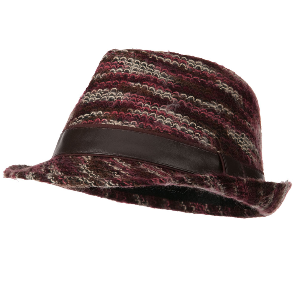 PU Band Multi Color Fedora - Burgundy - Hats and Caps Online Shop - Hip Head Gear