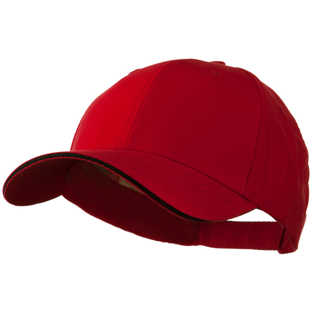 100% Polyester Brushed Microfiber Cap - Red Black - Hats and Caps Online Shop - Hip Head Gear