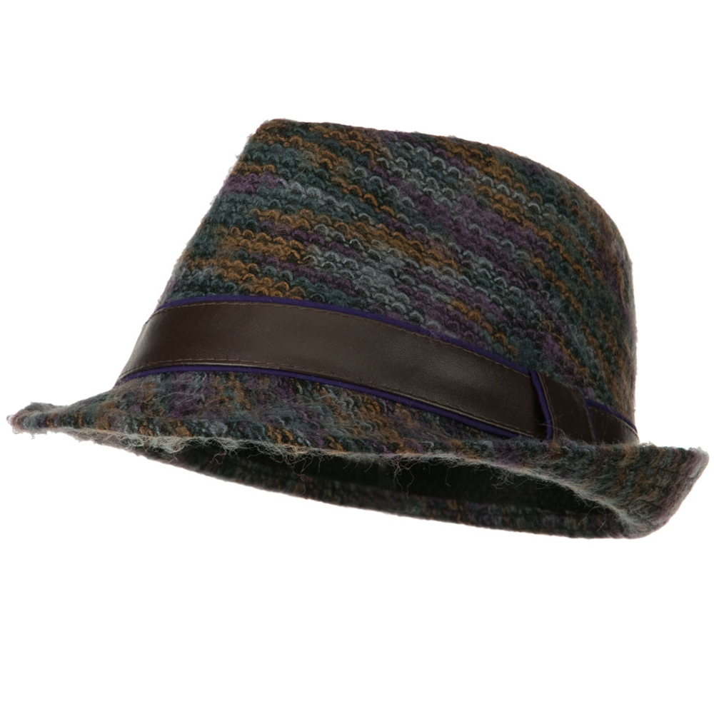 PU Band Multi Color Fedora - Purple - Hats and Caps Online Shop - Hip Head Gear