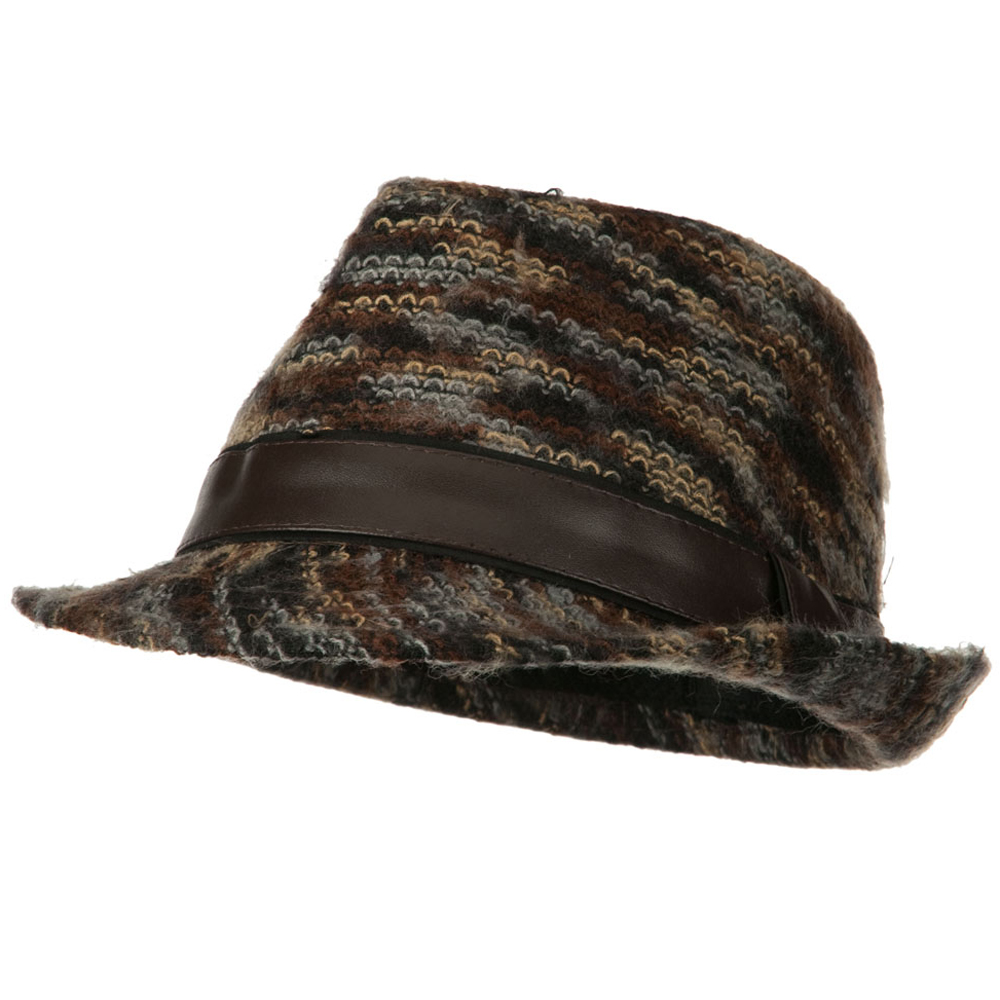 PU Band Multi Color Fedora - Brown - Hats and Caps Online Shop - Hip Head Gear