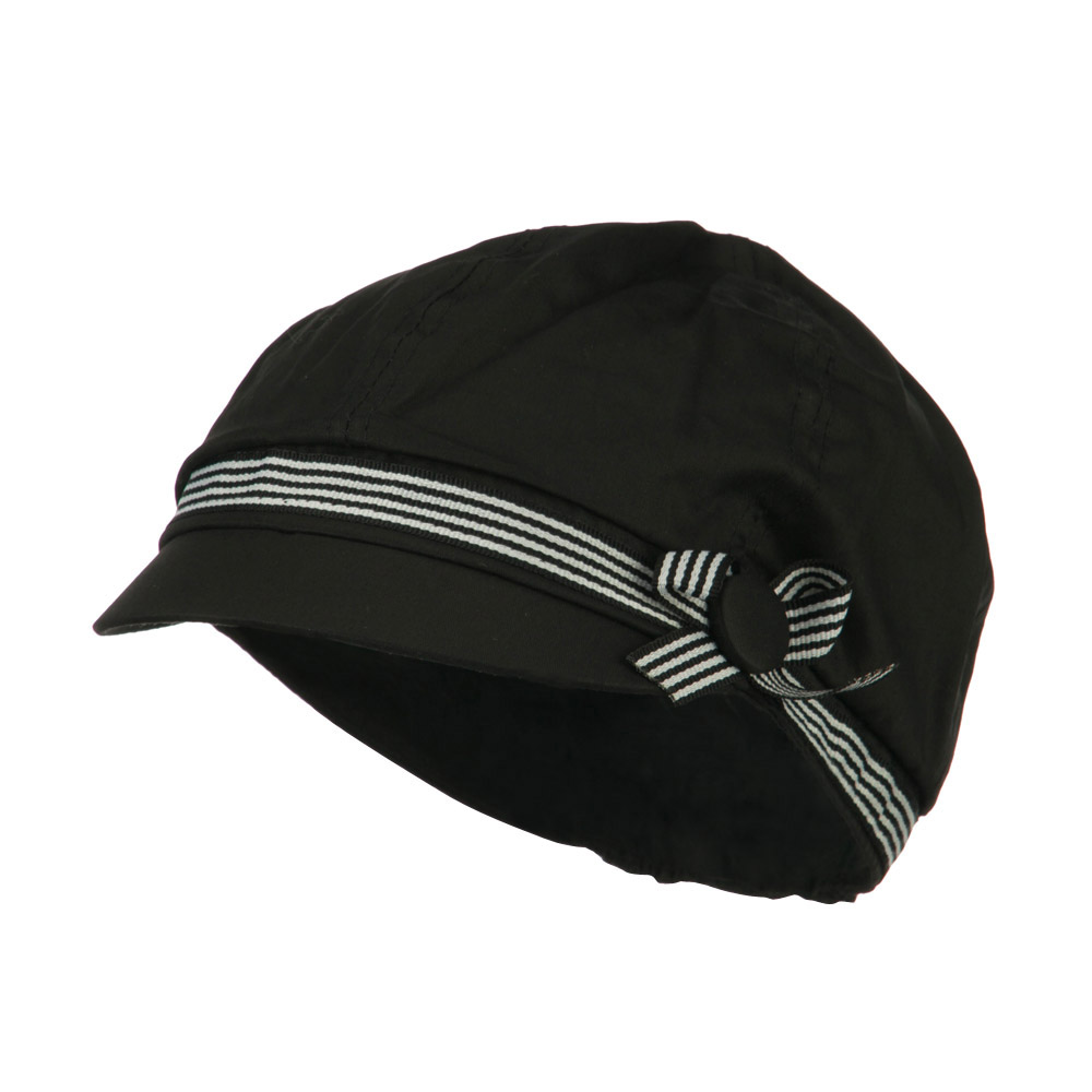 6 Panel Cotton Cabbie Cap with Ribbon Band - Black - Hats and Caps Online Shop - Hip Head Gear