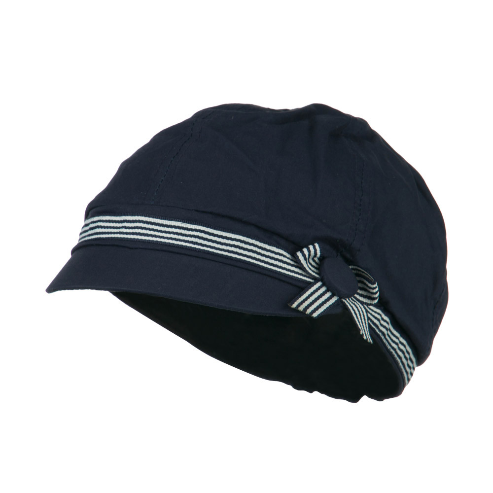 6 Panel Cotton Cabbie Cap with Ribbon Band - Navy - Hats and Caps Online Shop - Hip Head Gear