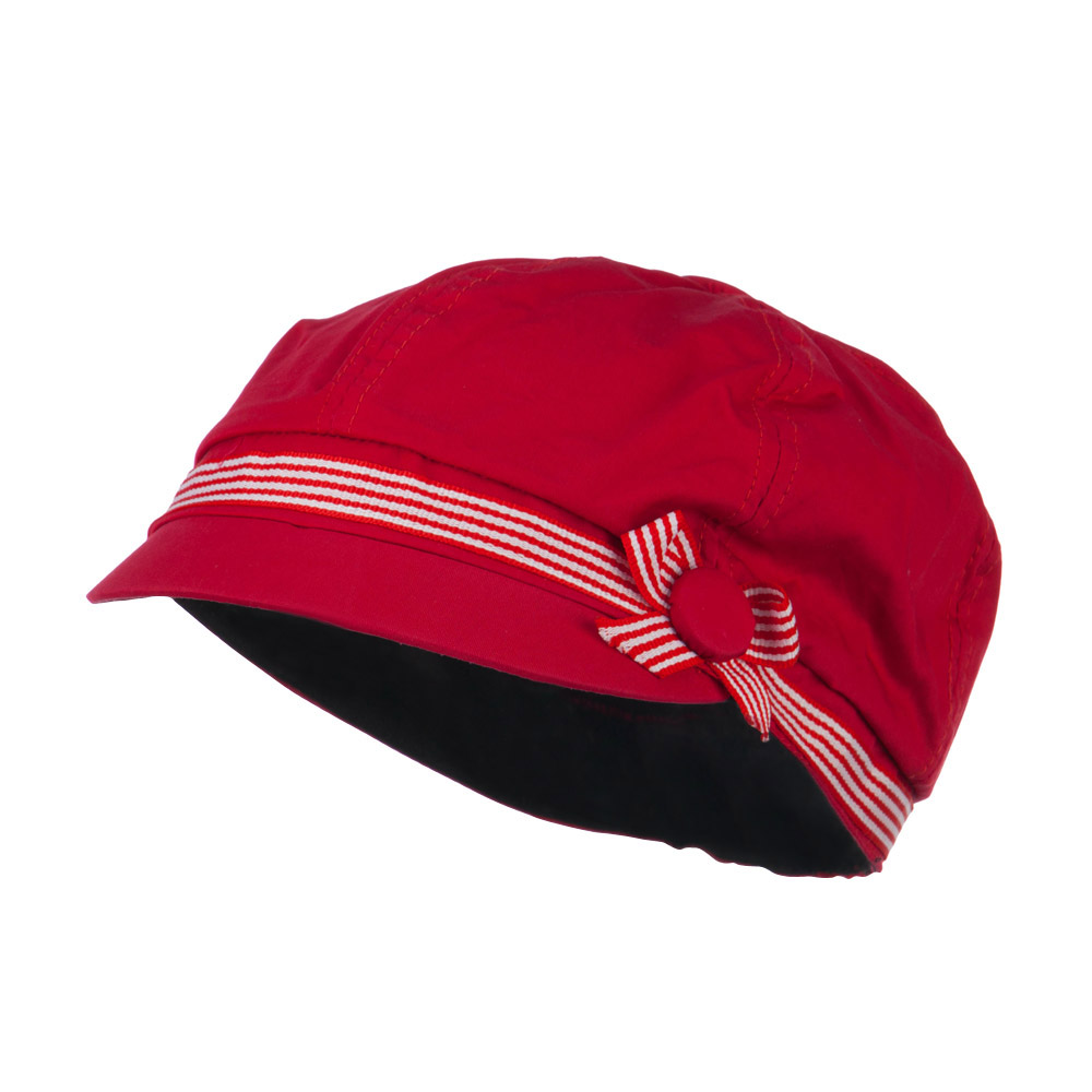 6 Panel Cotton Cabbie Cap with Ribbon Band - Red - Hats and Caps Online Shop - Hip Head Gear