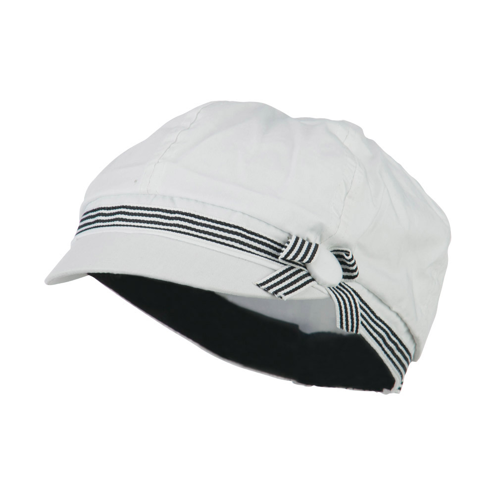 6 Panel Cotton Cabbie Cap with Ribbon Band - White - Hats and Caps Online Shop - Hip Head Gear