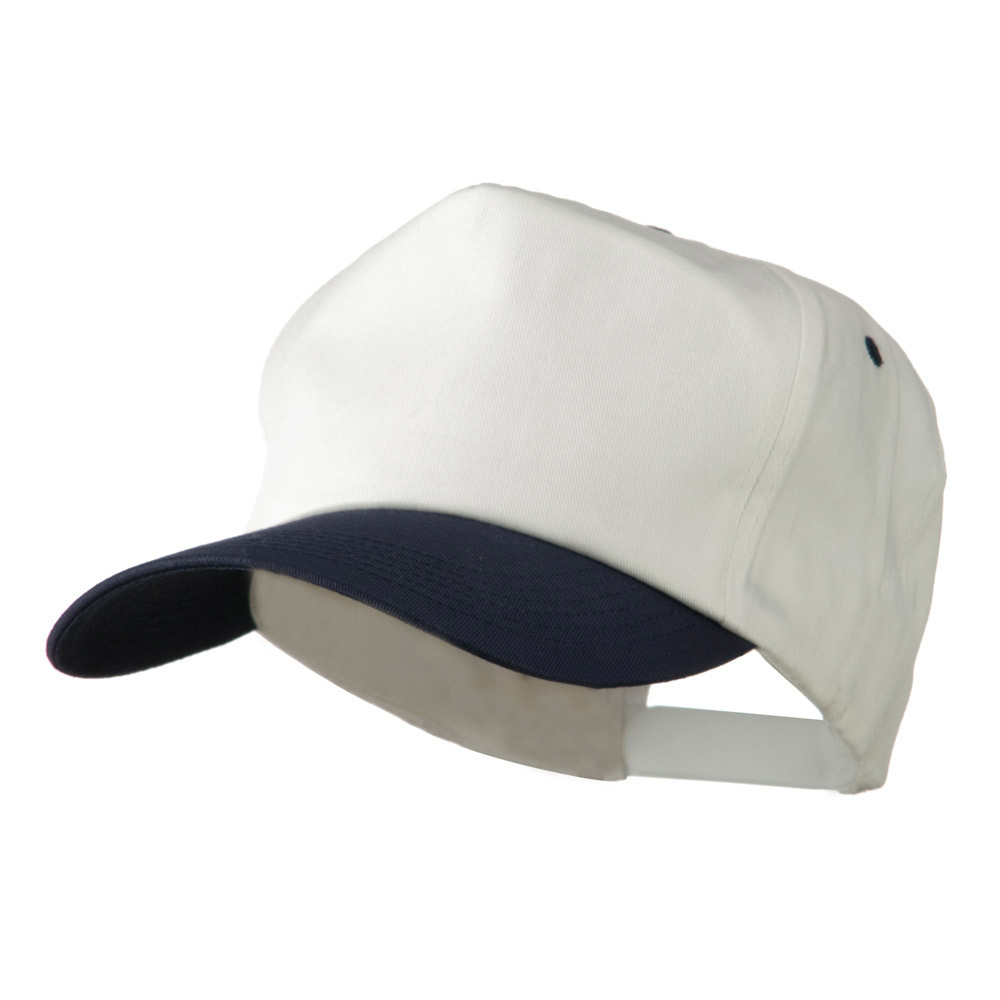 5 Panel Cotton Twill Cap - White Navy - Hats and Caps Online Shop - Hip Head Gear