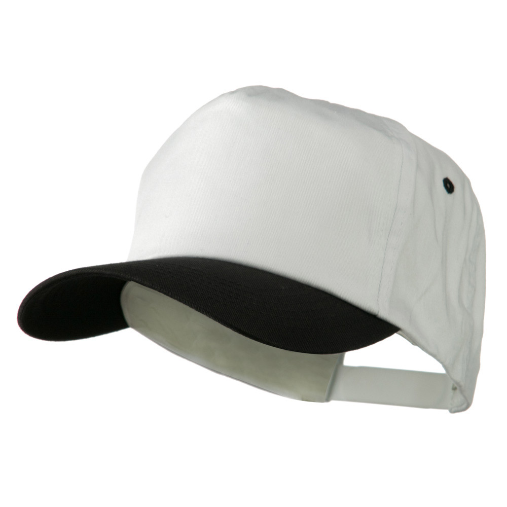 5 Panel Cotton Twill Cap - White Black - Hats and Caps Online Shop - Hip Head Gear