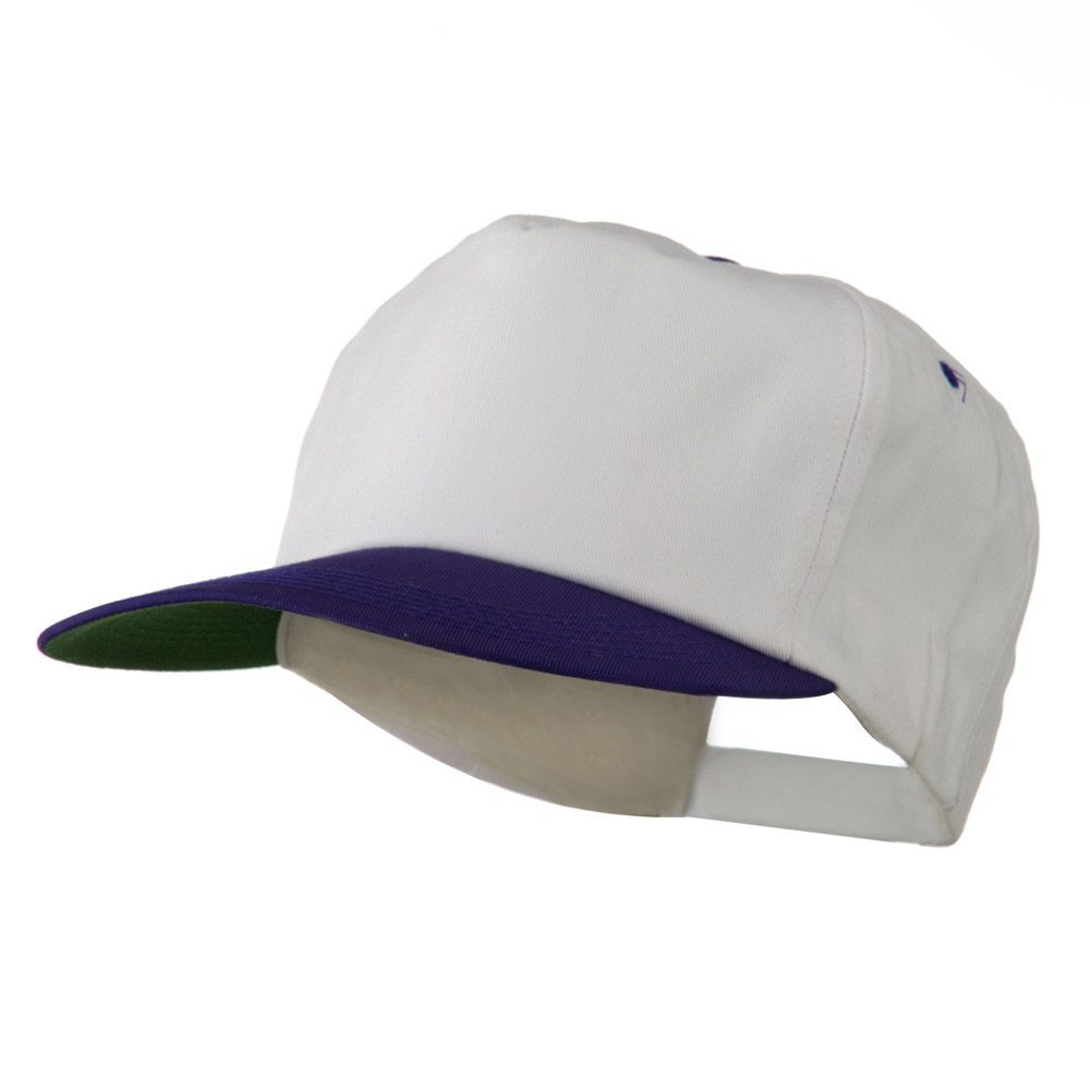 5 Panel Cotton Twill Cap - White Purple - Hats and Caps Online Shop - Hip Head Gear
