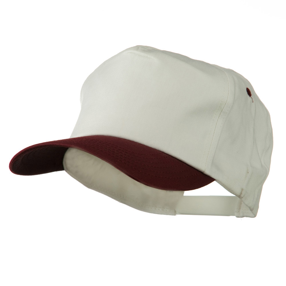 5 Panel Cotton Twill Cap - White Red - Hats and Caps Online Shop - Hip Head Gear
