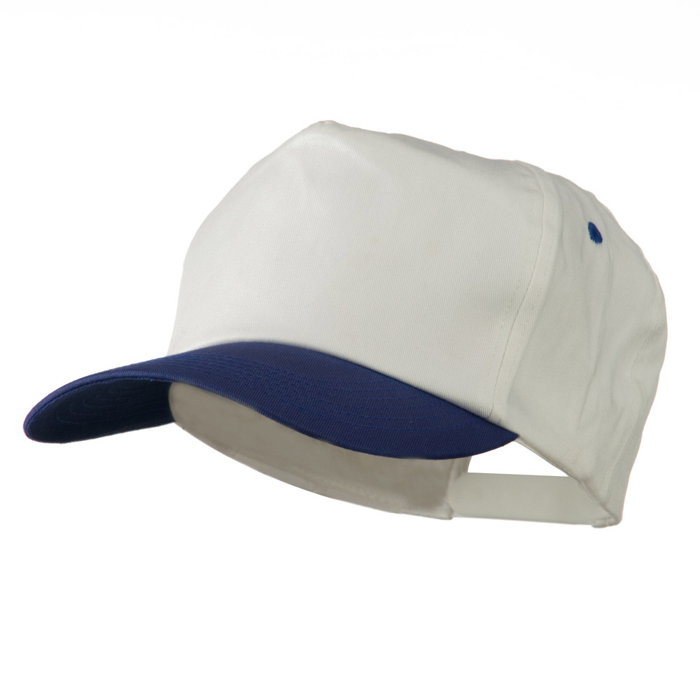 5 Panel Cotton Twill Cap - White Royal - Hats and Caps Online Shop - Hip Head Gear