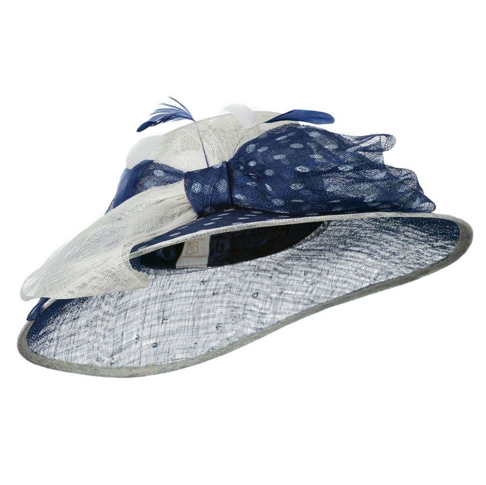Polka Dot Ribbon Accent Sinamay Hat - Navy White - Hats and Caps Online Shop - Hip Head Gear