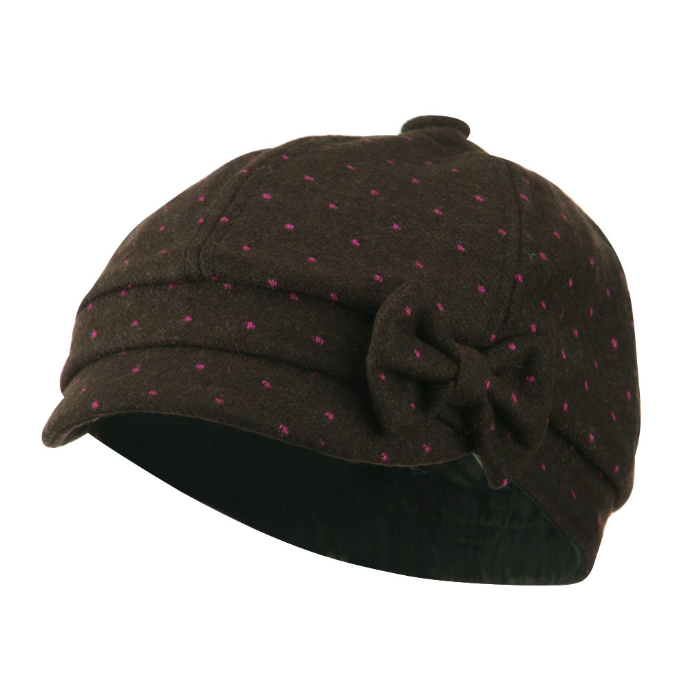 Girl's Polka Dots Bow Cabby Cap - Brown - Hats and Caps Online Shop - Hip Head Gear