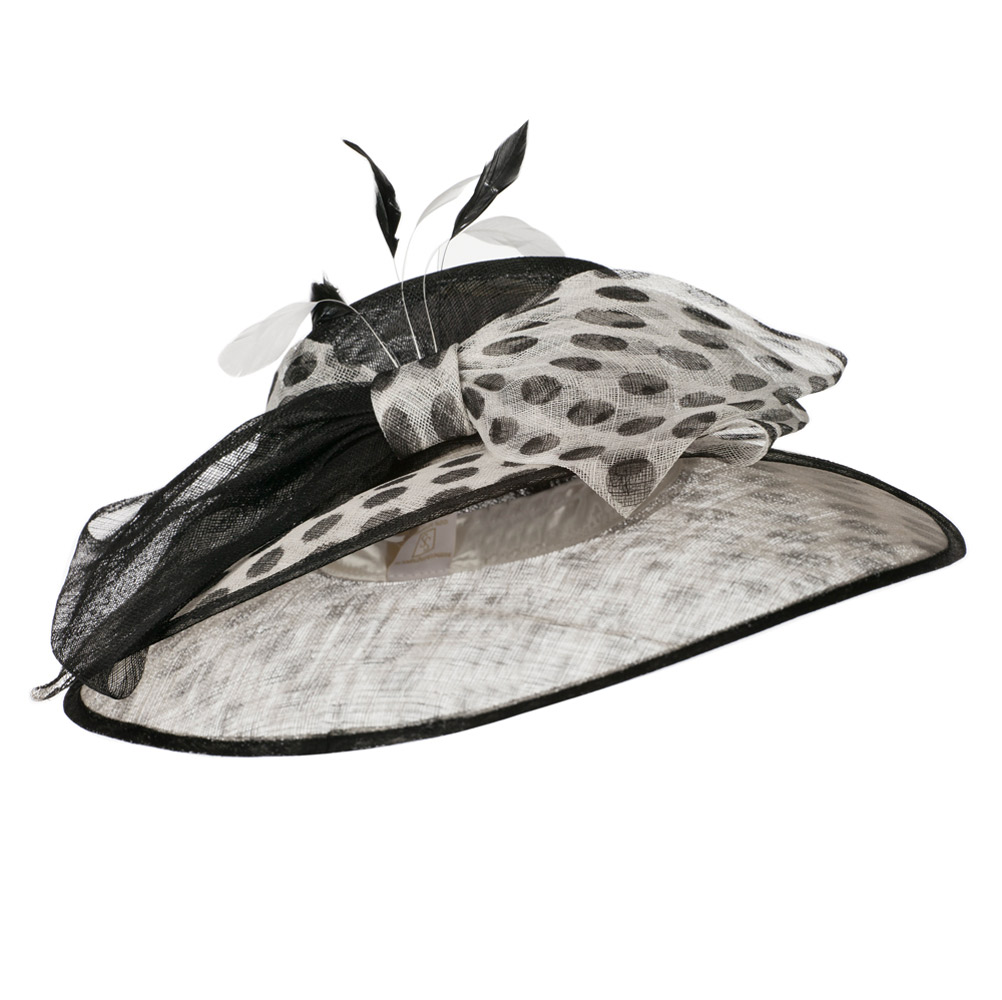 Polka Dot Ribbon Accent Sinamay Hat - White Black - Hats and Caps Online Shop - Hip Head Gear