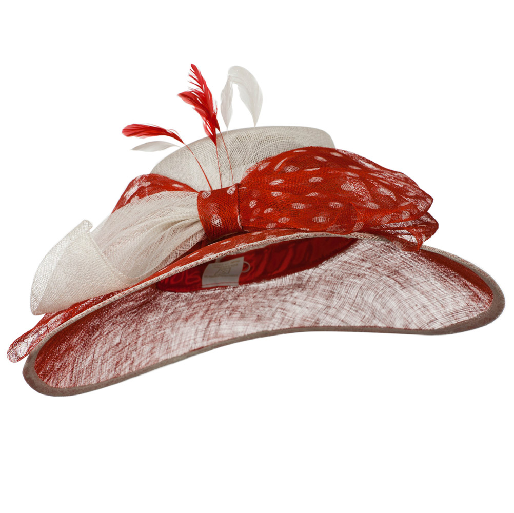 Polka Dot Ribbon Accent Sinamay Hat - Red White - Hats and Caps Online Shop - Hip Head Gear