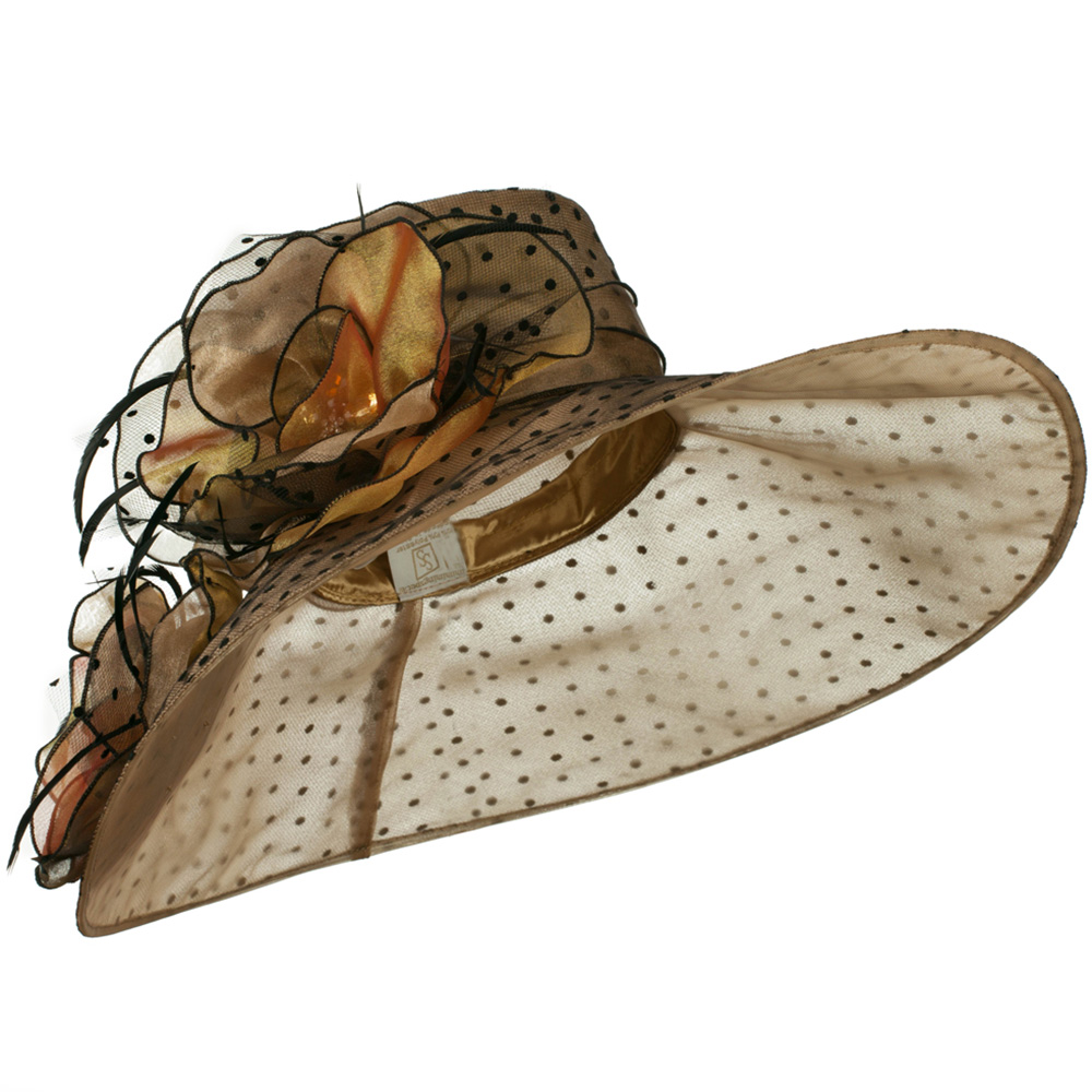 Polka Dot Designed Flower Detailed Organza Hat - Brown - Hats and Caps Online Shop - Hip Head Gear