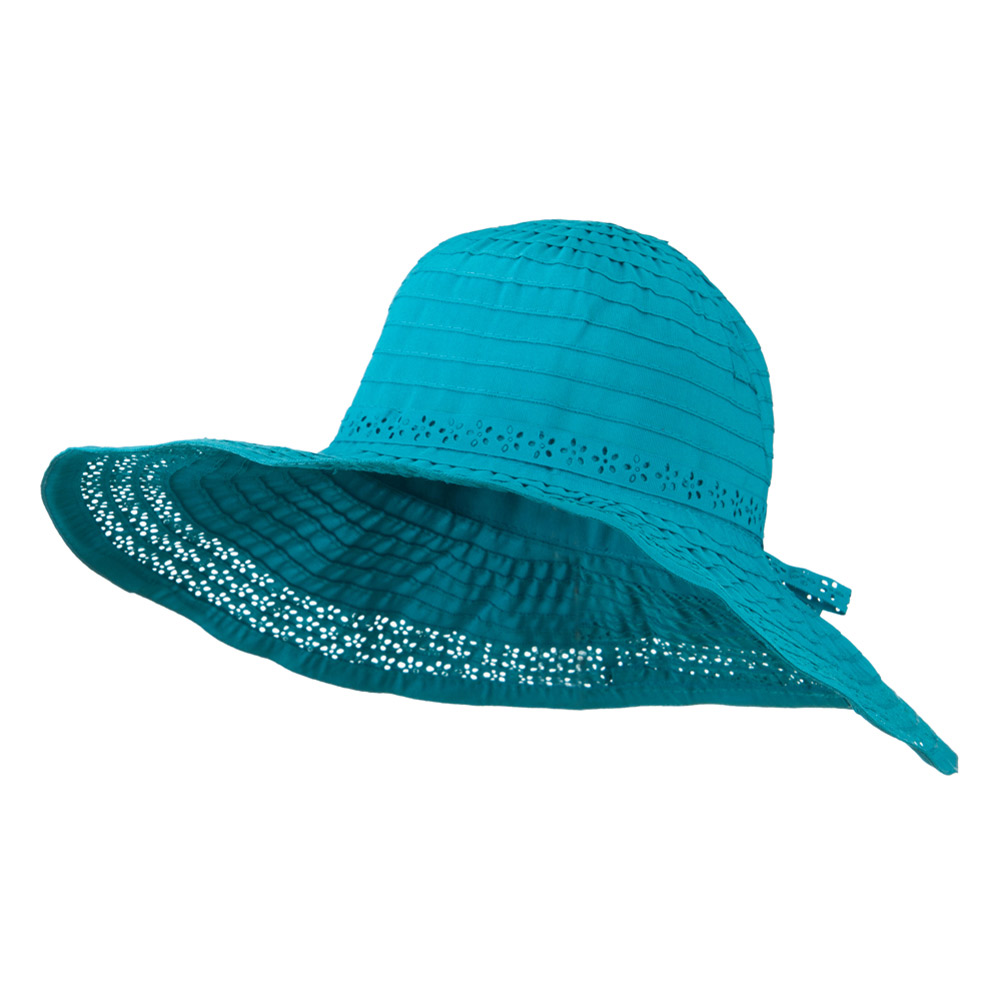 5 Inch Perforated Edge Brim Hat - Turquoise - Hats and Caps Online Shop - Hip Head Gear