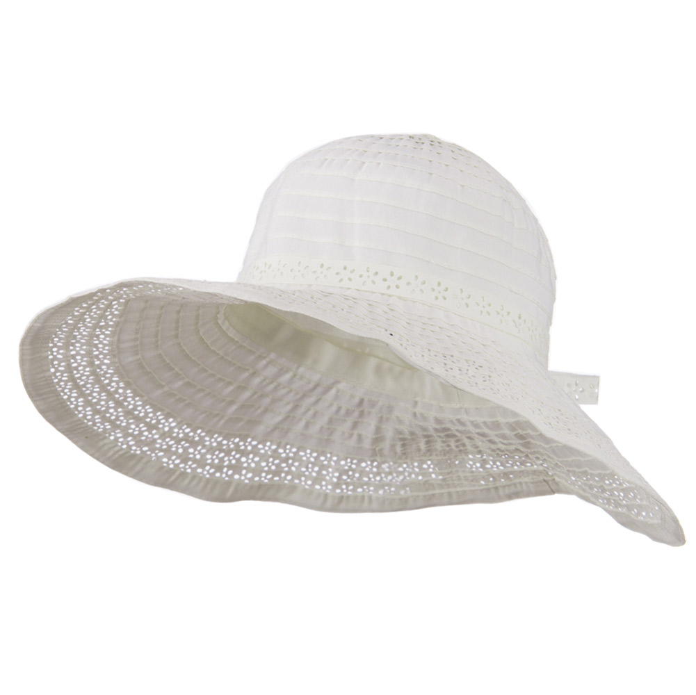 5 Inch Perforated Edge Brim Hat - White - Hats and Caps Online Shop - Hip Head Gear