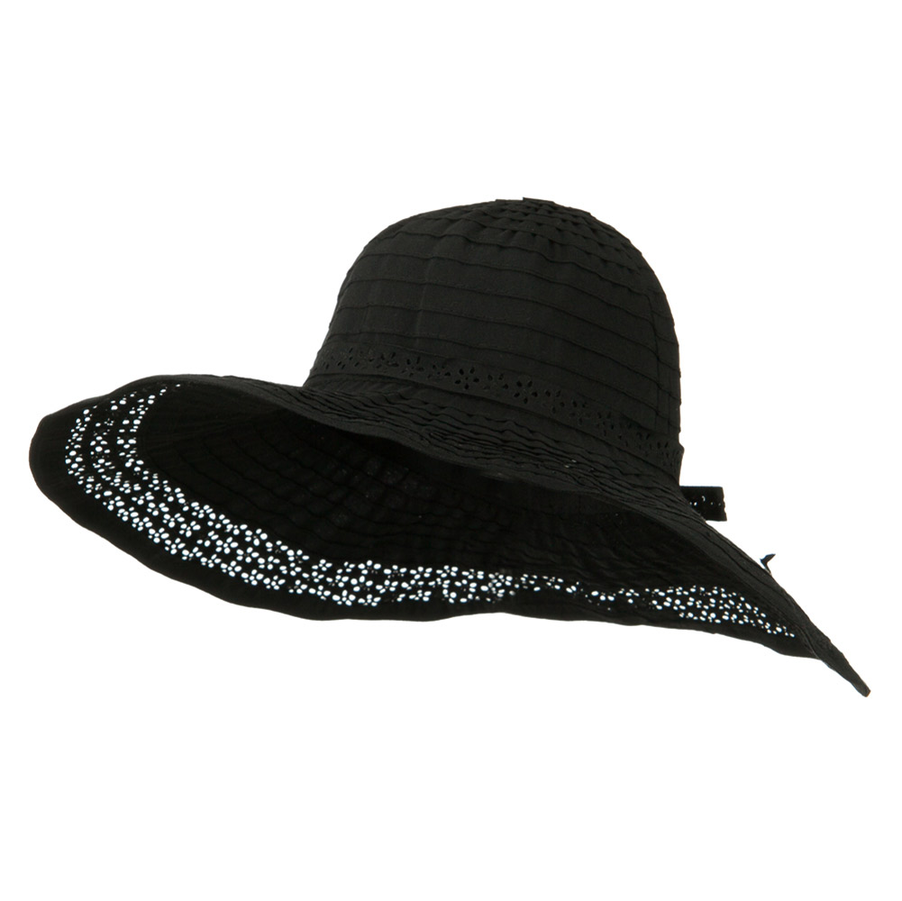 5 Inch Perforated Edge Brim Hat - Black - Hats and Caps Online Shop - Hip Head Gear