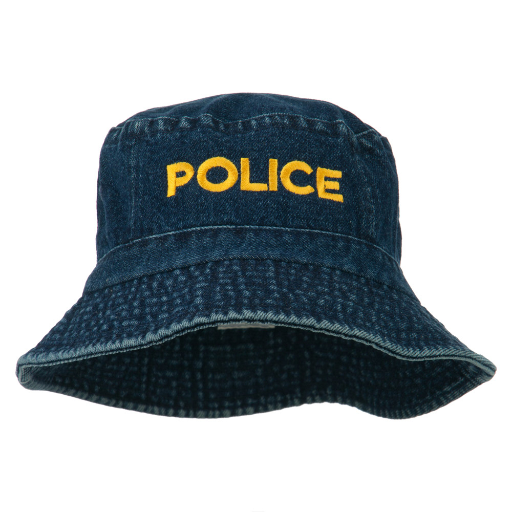 Police Embroidered Pigment Dyed Bucket Hat - Denim