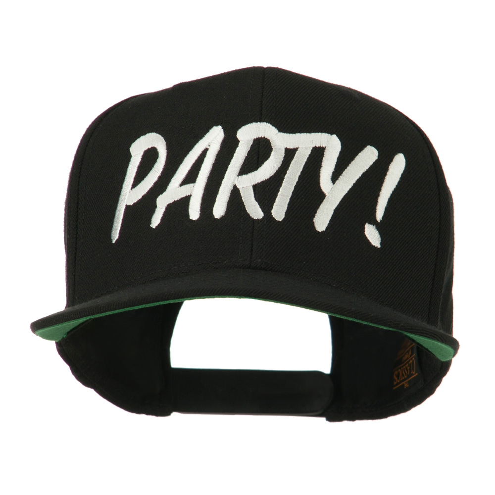 Flat Bill Party Embroidered Cap - Black - Hats and Caps Online Shop - Hip Head Gear