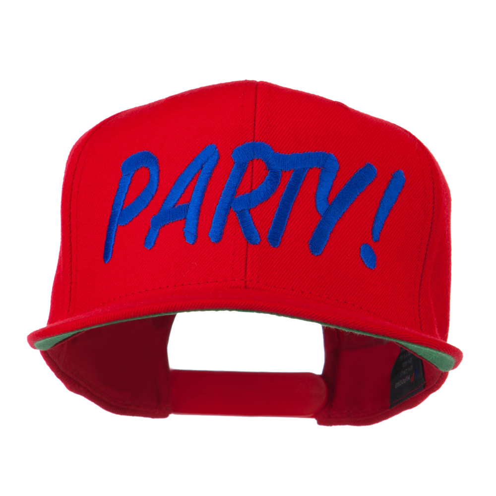 Flat Bill Party Embroidered Cap - Red - Hats and Caps Online Shop - Hip Head Gear