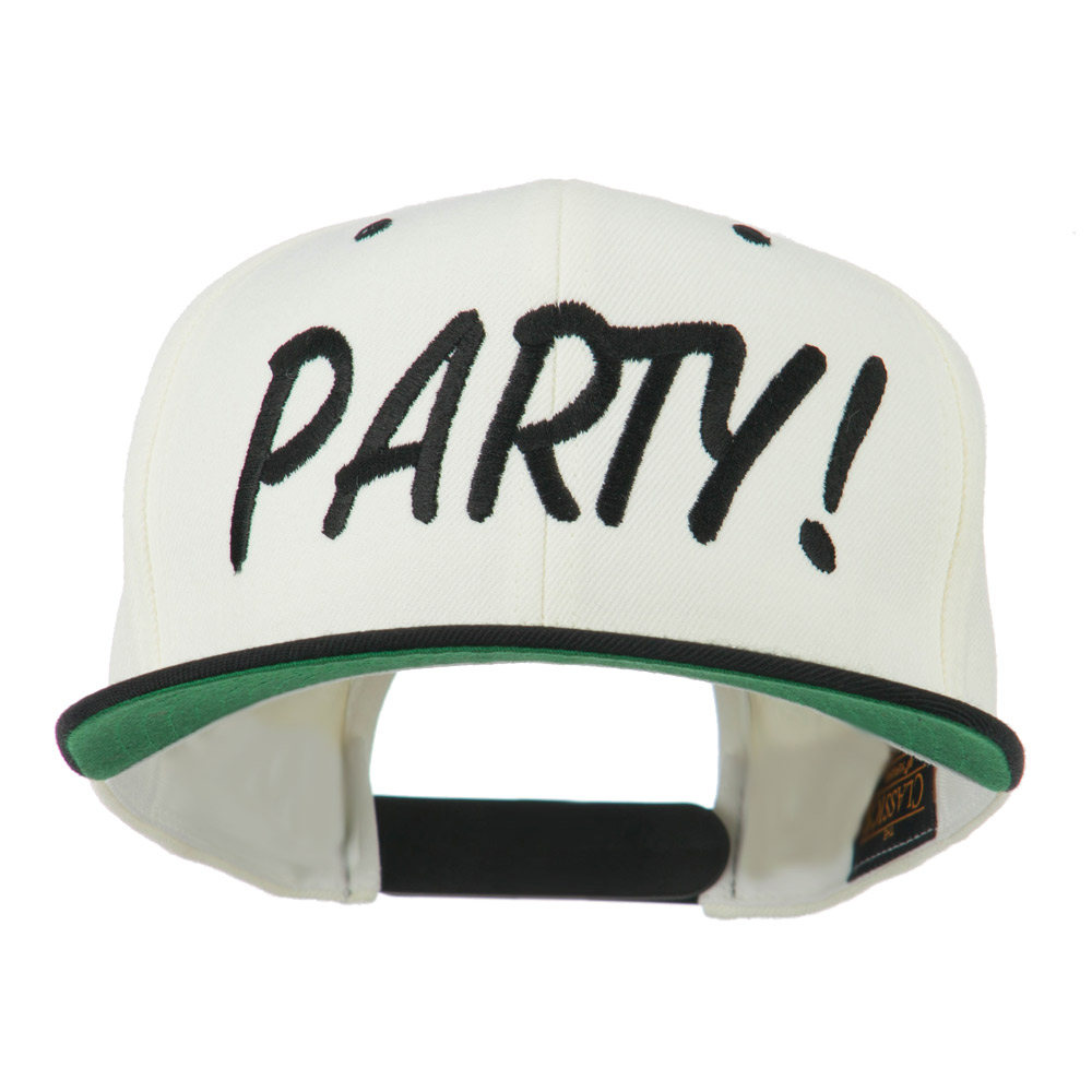 Flat Bill Party Embroidered Cap - Natural Black - Hats and Caps Online Shop - Hip Head Gear
