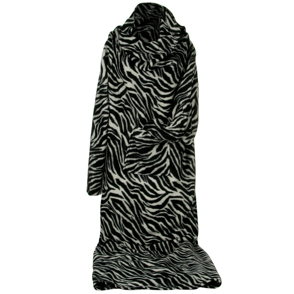 Polar Fleece Sleeved Blanket - Black Zebra